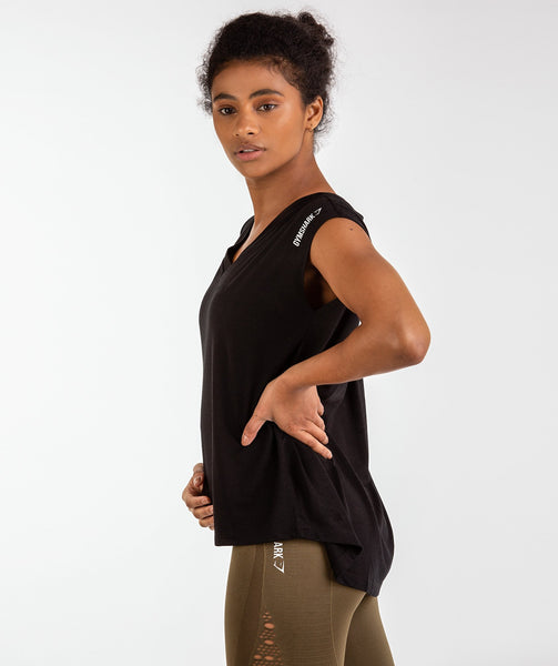 Gymshark Pleat Back Tee - Black 1