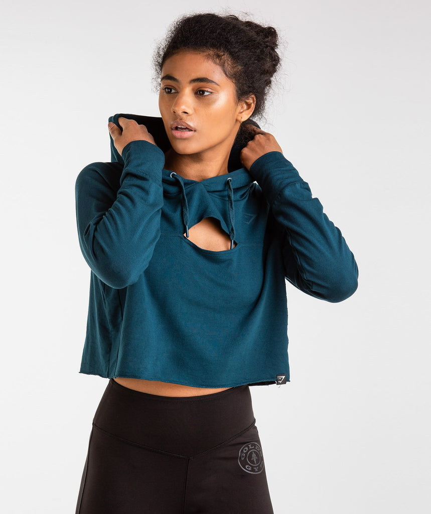 Gymshark Golds Gym Cropped Pullover - Lagoon Blue 1