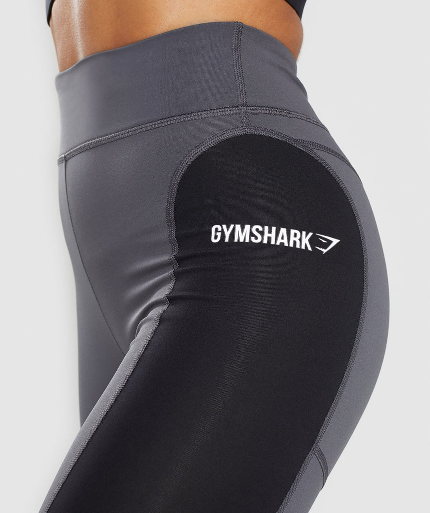 Gymshark Illusion Leggings - Black/Charcoal/Light Grey 6