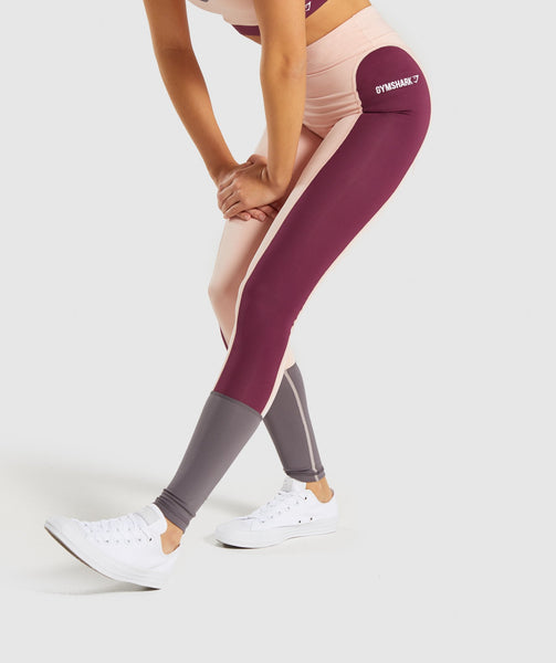 Gymshark Illusion Leggings - Dark Ruby/Blush Nude/Slate Lavender 2