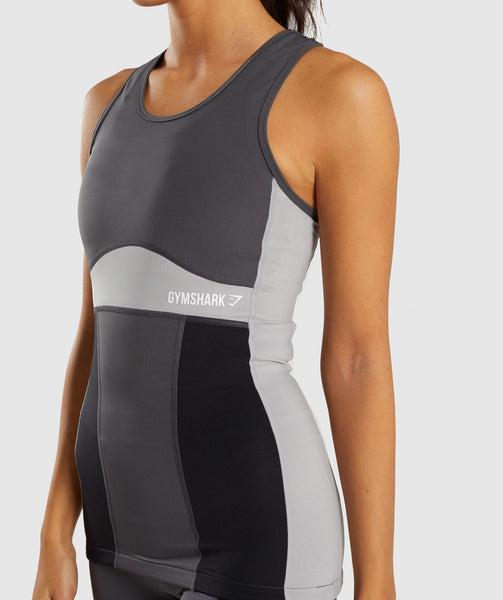 Gymshark Illusion Vest - Black/Charcoal/Light Grey 4