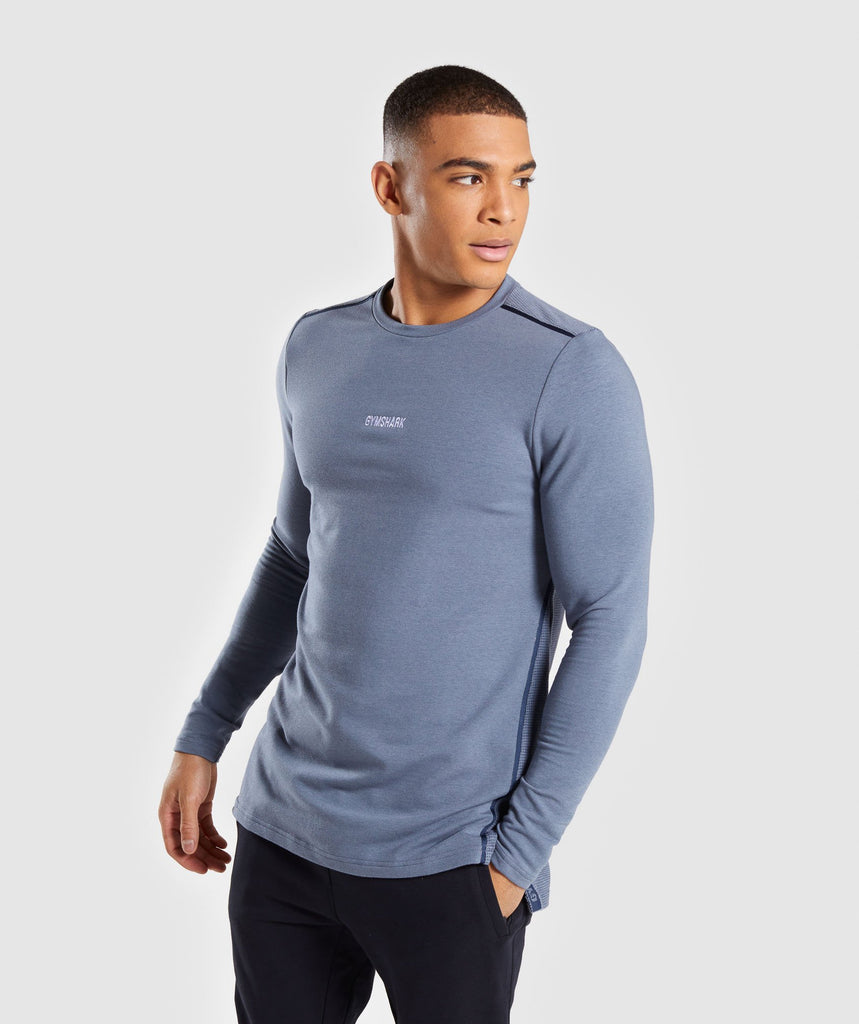 Gymshark Jacquard Back Long Sleeve T-Shirt - Aegean Blue Marl 4