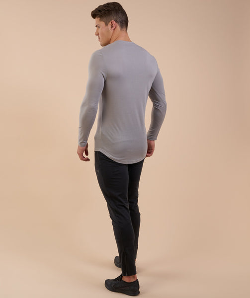 Perforated Longline Long Sleeve T-Shirt - Light Grey 3