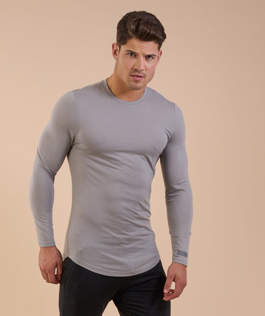 Perforated Longline Long Sleeve T-Shirt - Light Grey 5