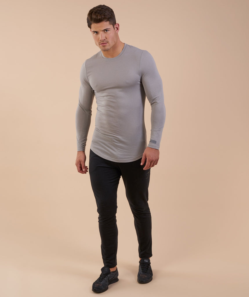 Perforated Longline Long Sleeve T-Shirt - Light Grey 1