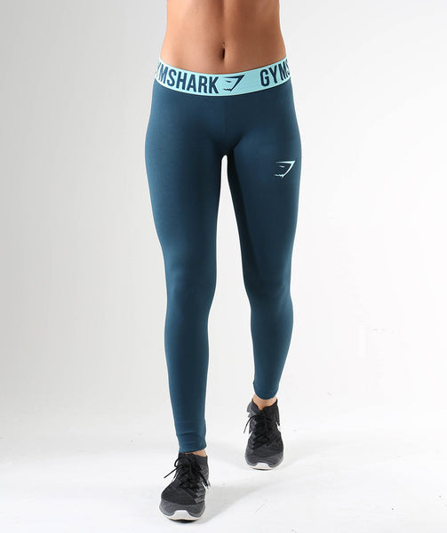 Gymshark Fit Leggings- Lagoon Blue/Mint Green 4