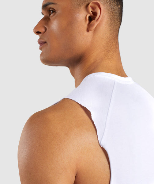 Gymshark Laundered Drop Arm Tank - White 3