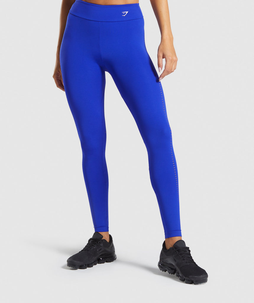 Gymshark Laser Cut Tights - Blue 1
