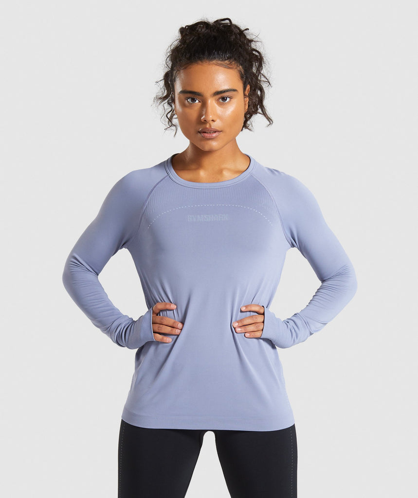 Gymshark Lightweight Seamless Long Sleeve Top - Blue 1
