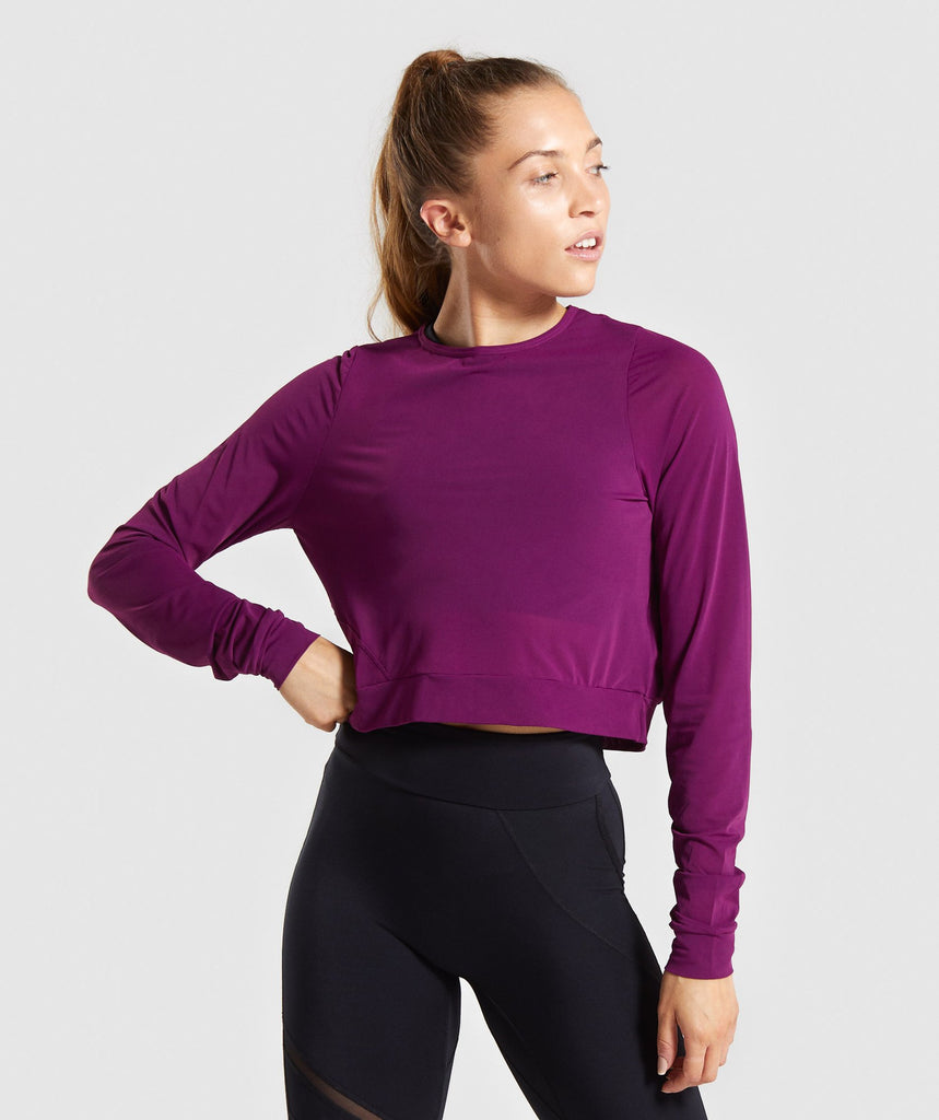 Gymshark Mesh Layer Long Sleeve Top - Deep Magenta 1