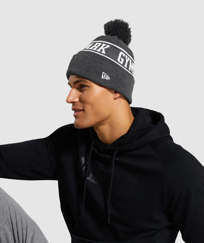 Gymshark New Era GS Tab Beanie - Black Marl 1