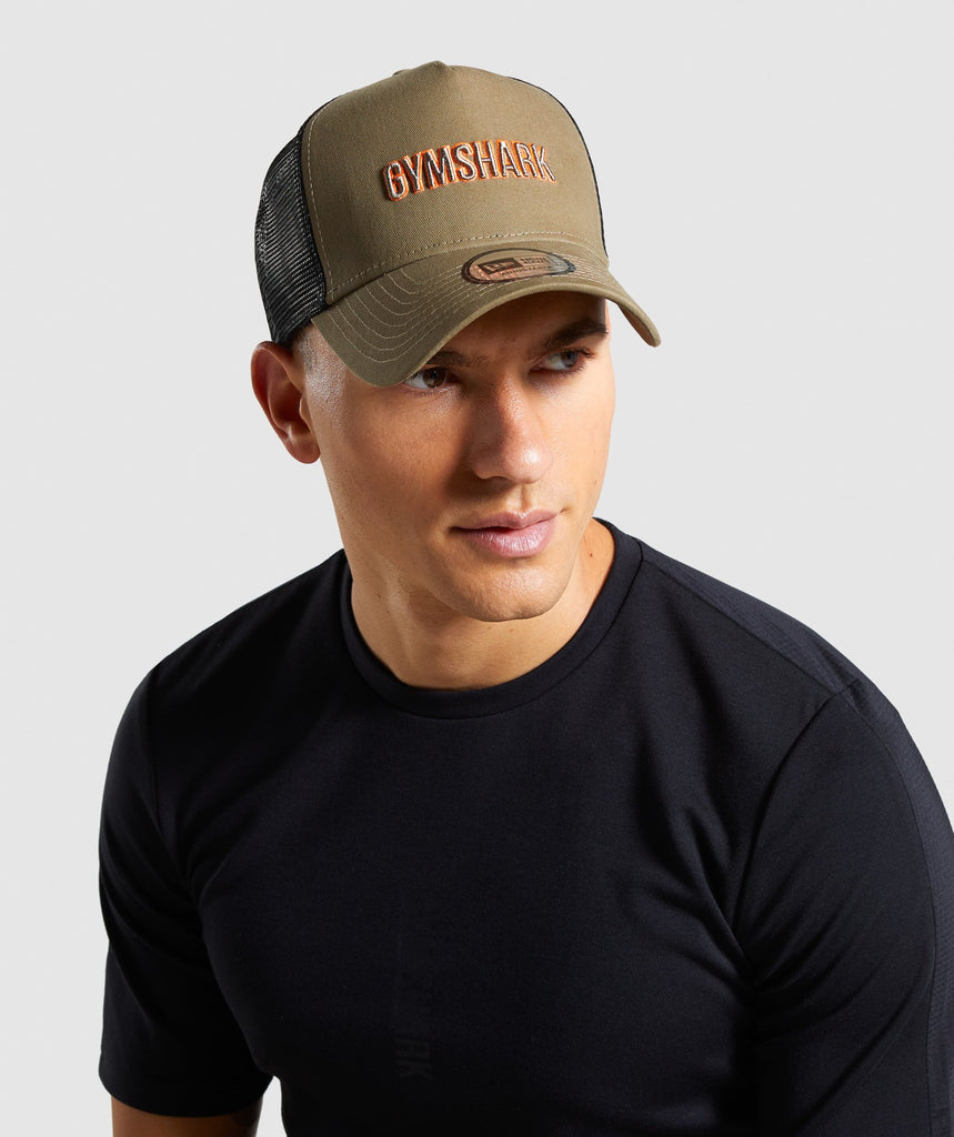 Gymshark New Era GS Trucker - Khaki/Orange 1