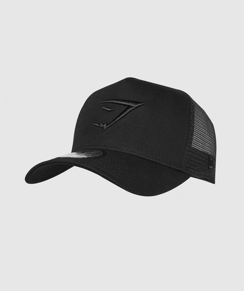 Gymshark New Era Mesh Trucker - Black/Black 4