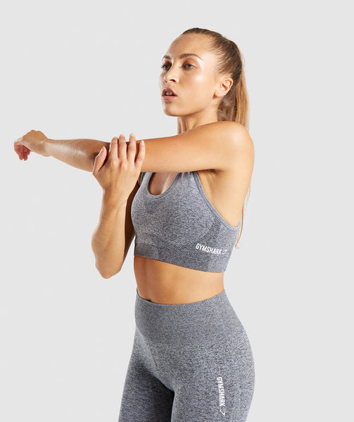 Gymshark Ombre Seamless Sports Bra  - Black/Light Grey 4