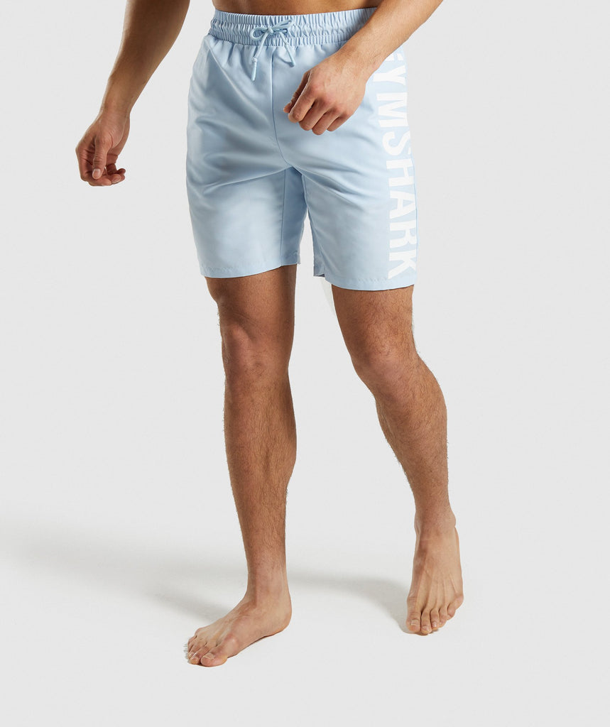 Gymshark Oversized Logo Board Shorts - Light Blue 1