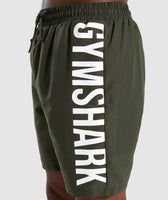 Gymshark Oversized Logo Board Shorts - Green 12