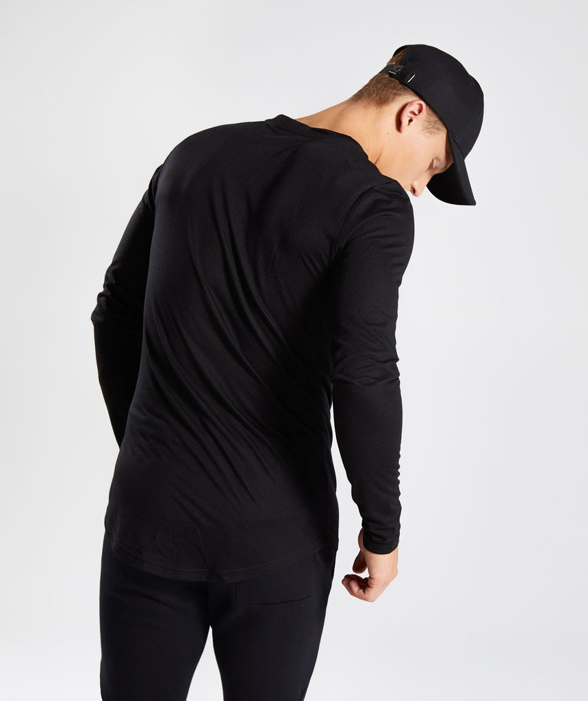 Perforated Longline Long Sleeve T-Shirt - Black 2