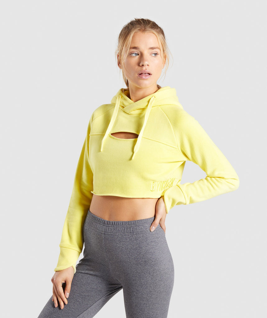 Gymshark Primary Cropped Raw Edge Hoodie - Pop Yellow 1