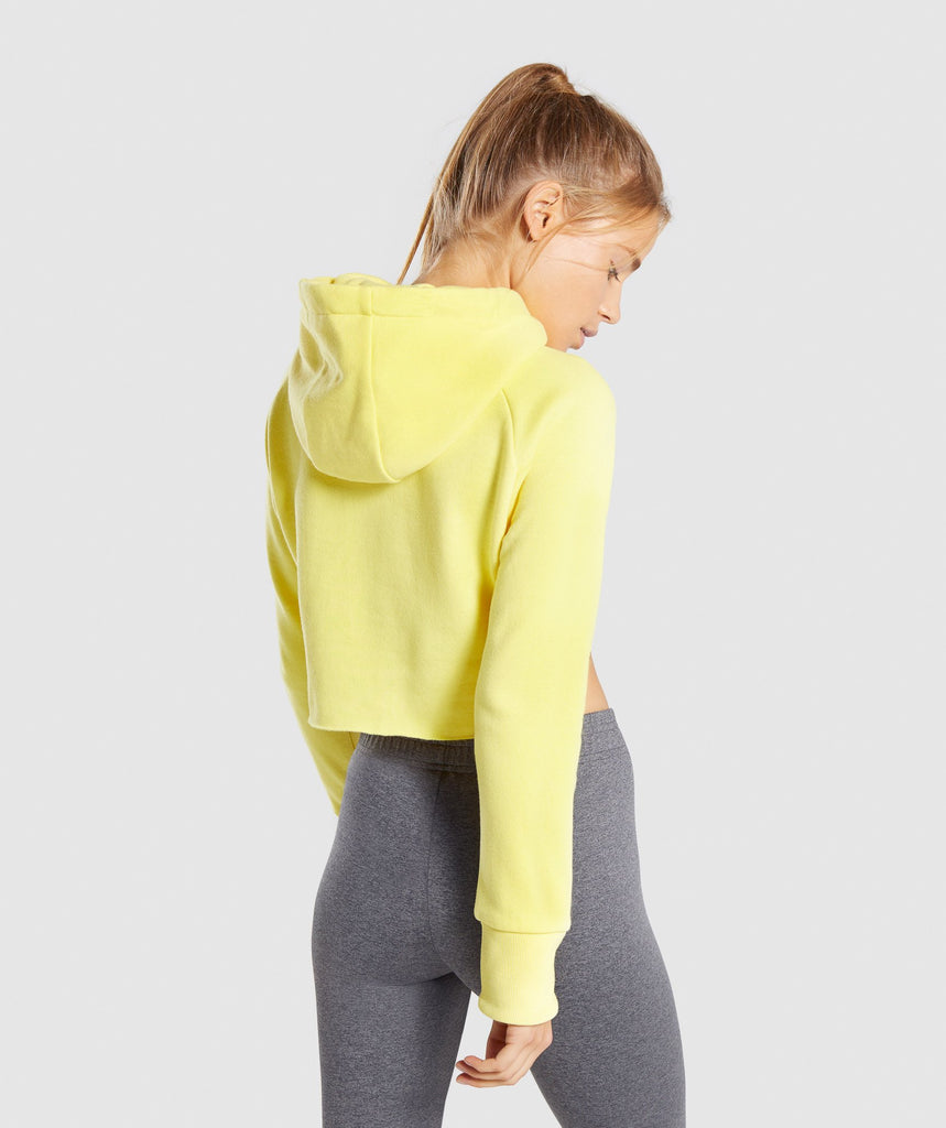 Gymshark Primary Cropped Raw Edge Hoodie - Pop Yellow 2
