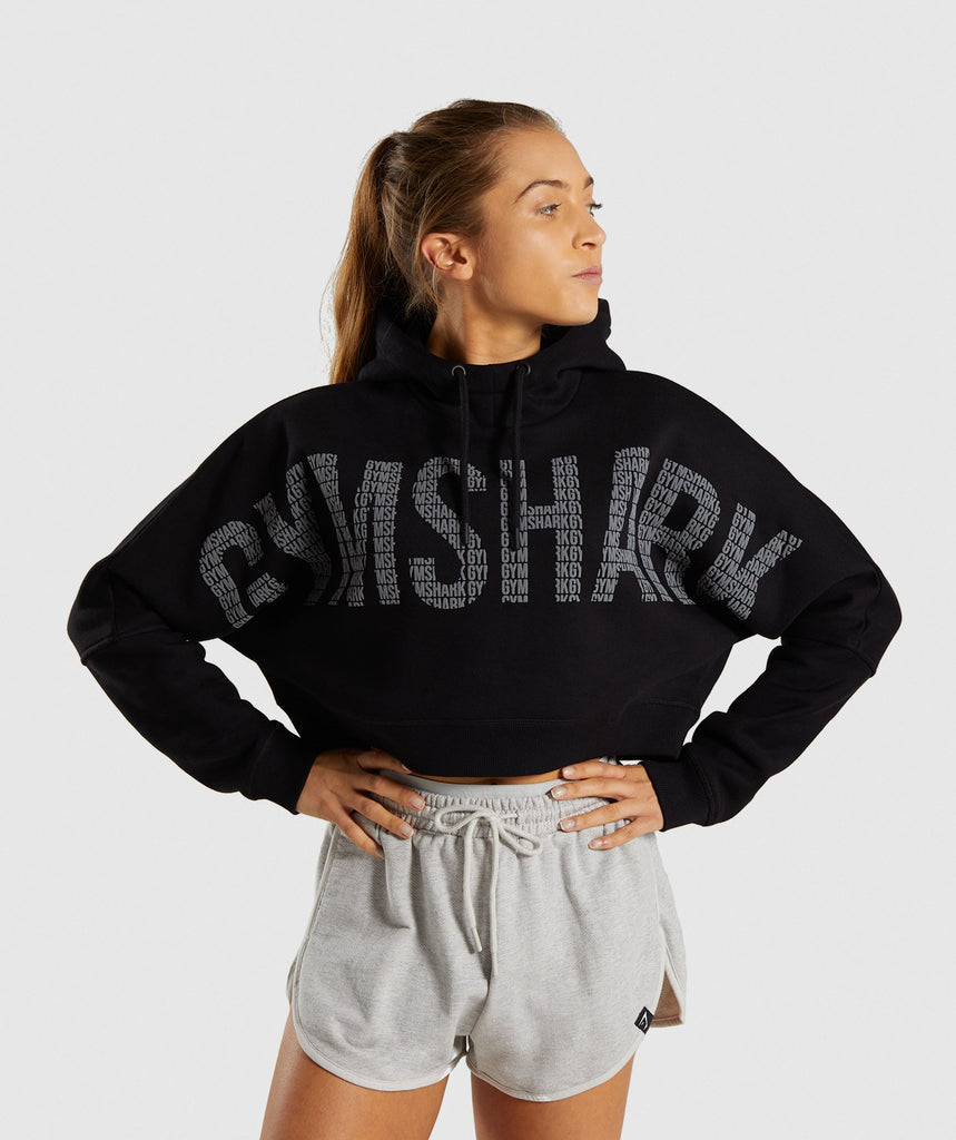 Gymshark Repeat Print Crop Pullover - Black 1