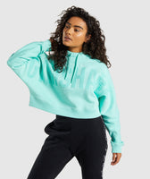 Gymshark Repeat Print Crop Pullover - Washed Turquoise 7