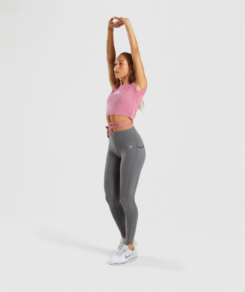 Gymshark Ribbon Capped Sleeve Crop Top - Dusky Pink 5