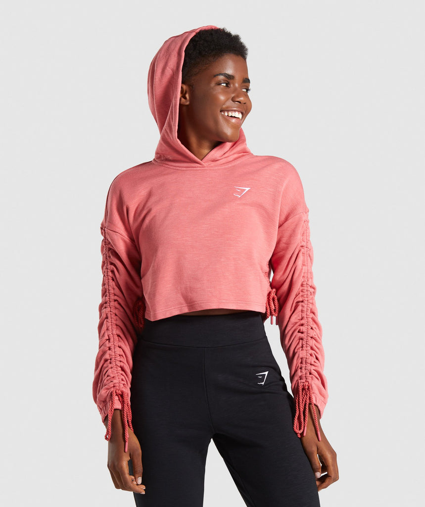 Gymshark Ruched Cropped Hoodie - Brick Red 1