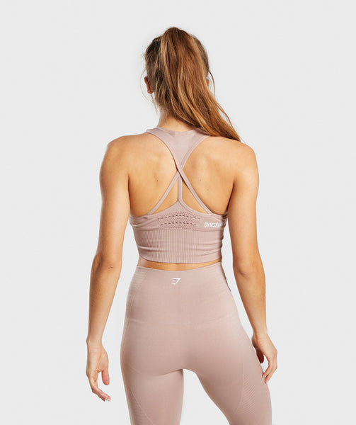 Gymshark Energy Seamless Crop Vest - Taupe 1