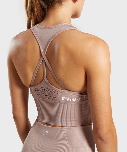 Gymshark Energy Seamless Crop Vest - Taupe 4