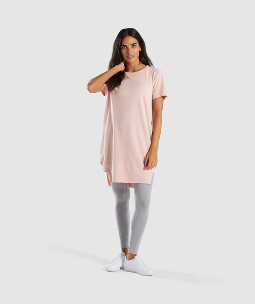 Gymshark Slounge Crescent T-Shirt Dress - Blush Nude 3