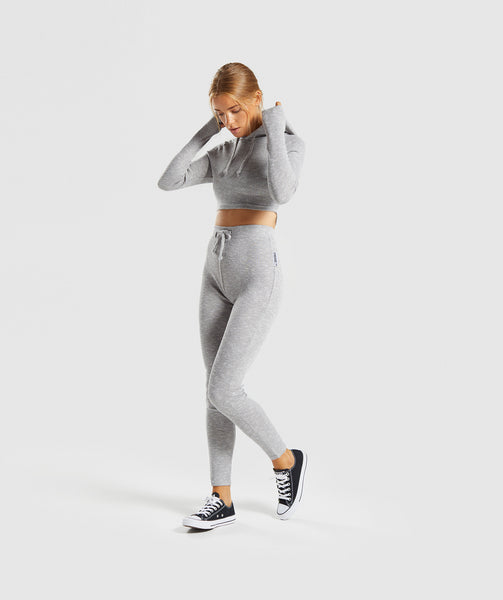 Gymshark Slounge Cropped Hoodie - Light Grey Marl 3