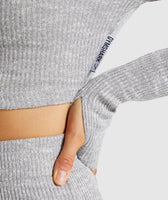 Gymshark Slounge Cropped Hoodie - Light Grey Marl 11