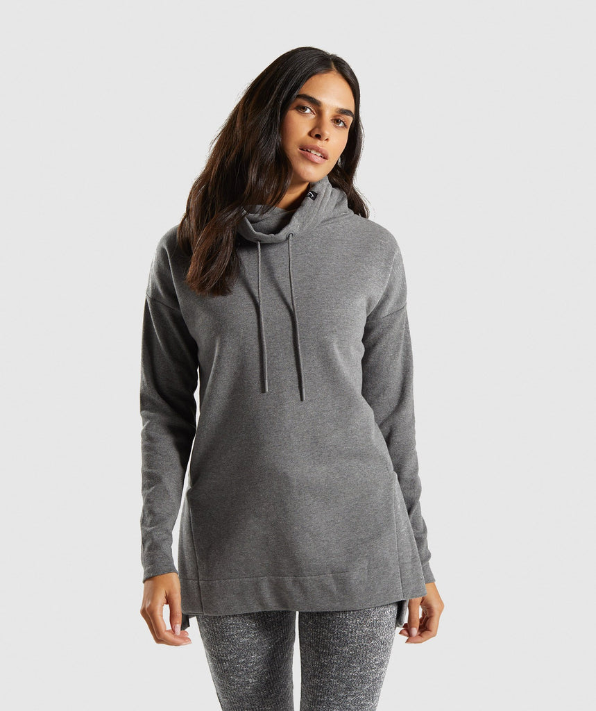 Gymshark Slounge Ribbed Pullover -Charcoal Marl 1