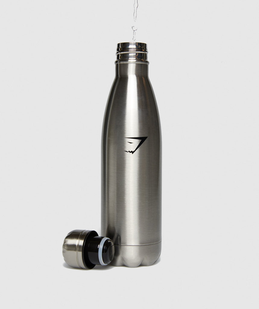 Gymshark Metal Water Bottle - Gun Metal SIlver 6