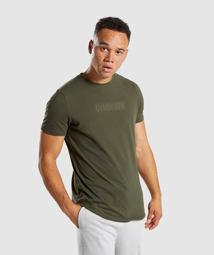 Gymshark Stamped Logo T-Shirt - Woodland Green 1