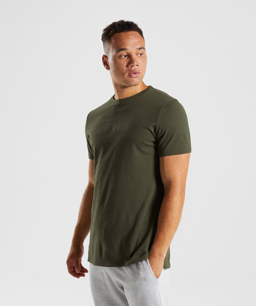Gymshark Stamped Logo T-Shirt - Woodland Green 2