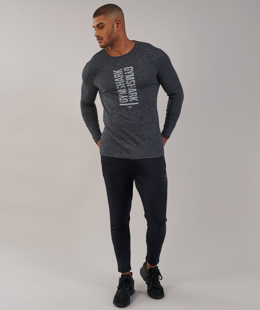 Gymshark Statement Long Sleeve T-Shirt - Black Marl 1