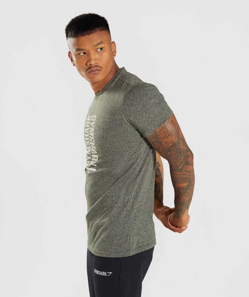 Gymshark Statement T-Shirt - Woodland Green Marl 2