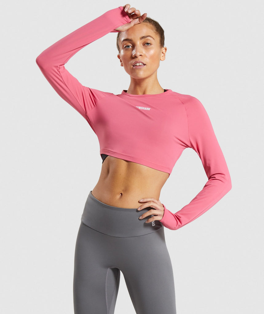 Gymshark Training Long Sleeve Crop Top - Pink 1