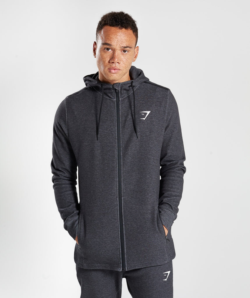 Gymshark Take Over Zip Hoodie - Black Marl 1