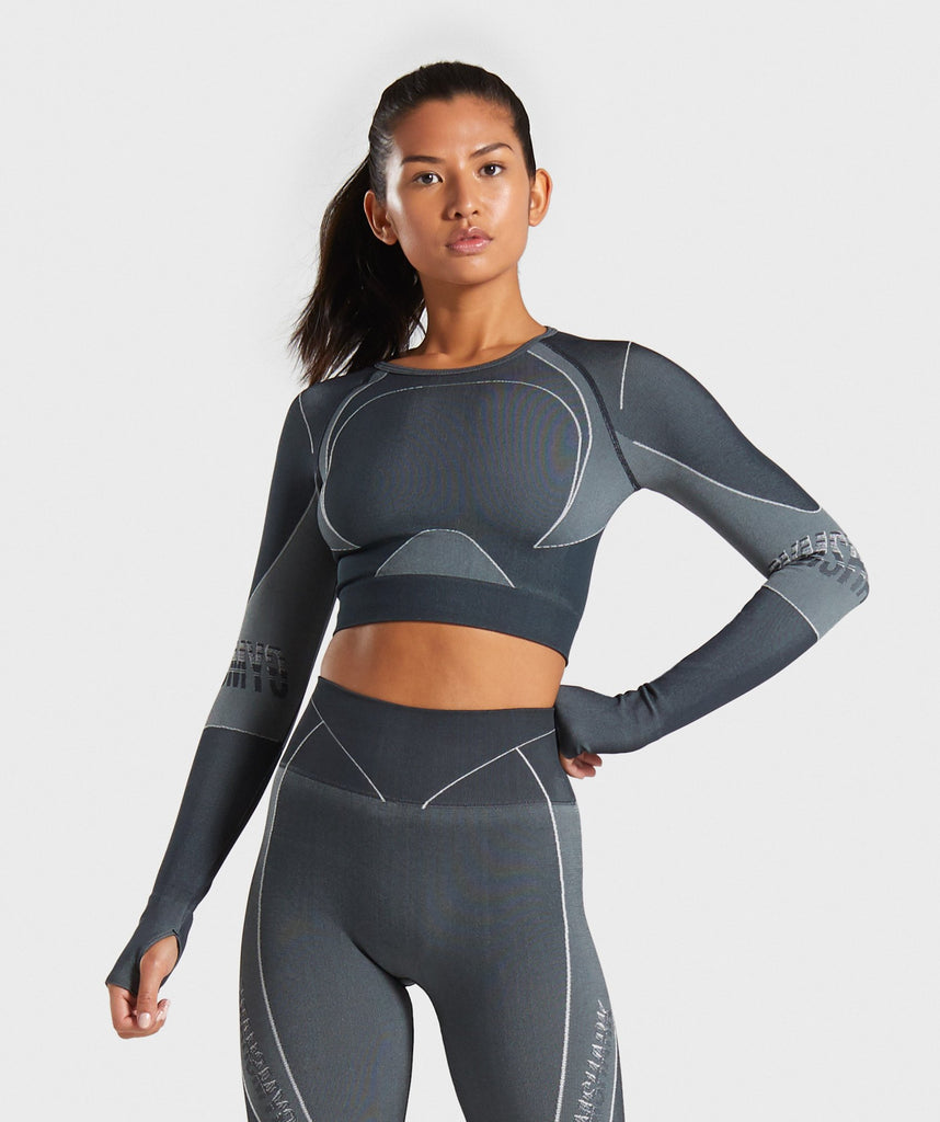 Gymshark Turbo Seamless Crop Top - Black 1