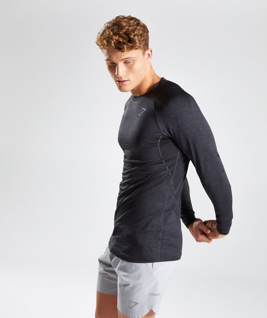 Gymshark Vertex Long Sleeve T-Shirt - Black Marl 1