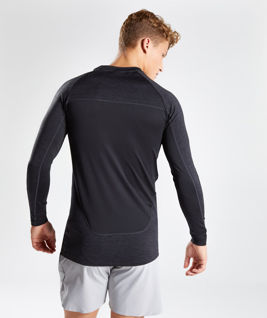 Gymshark Vertex Long Sleeve T-Shirt - Black Marl 2