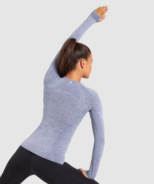 Full Length Steel Blue Marl Vital Seamless Long Sleeve T-Shirt Stretch From Back 1