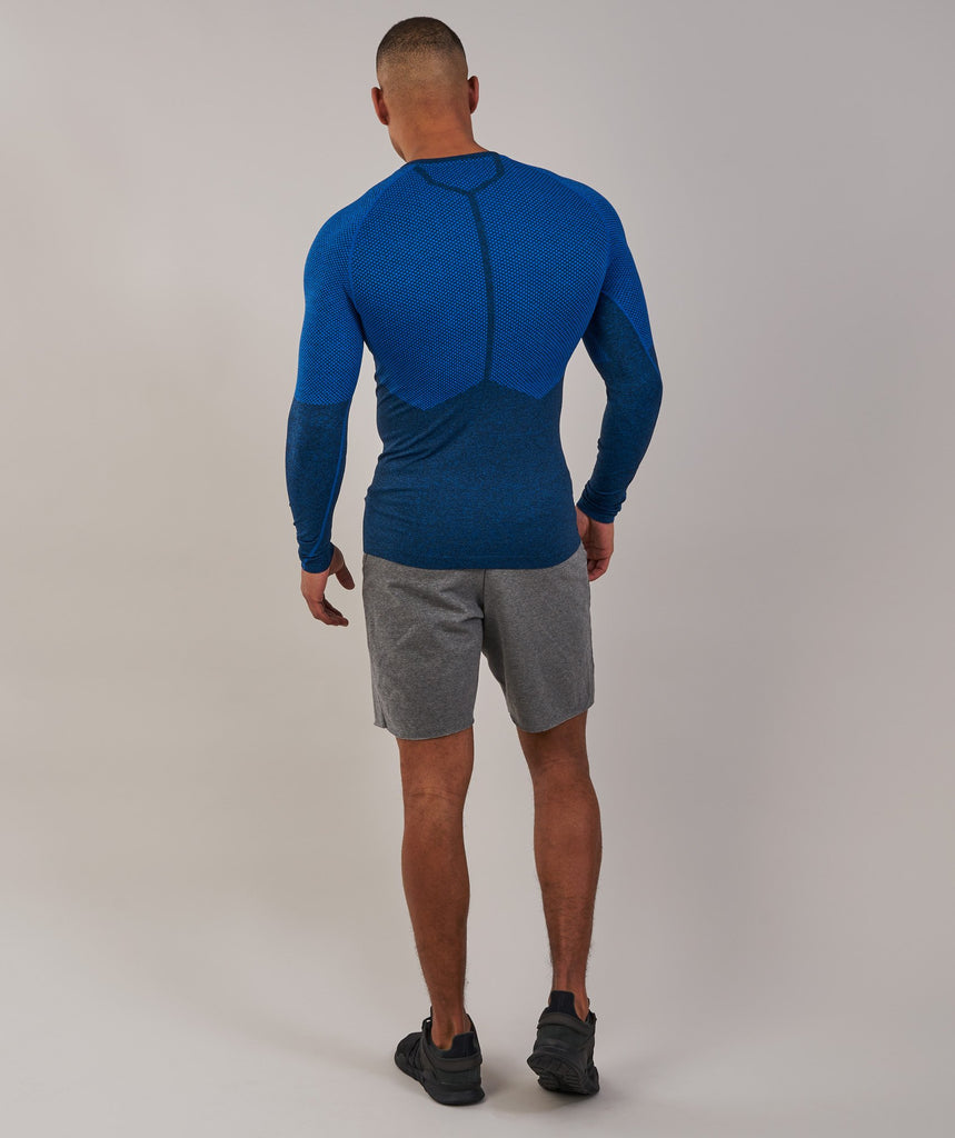 Gymshark Performance Seamless Long Sleeve T-Shirt - Dive Blue Marl 2
