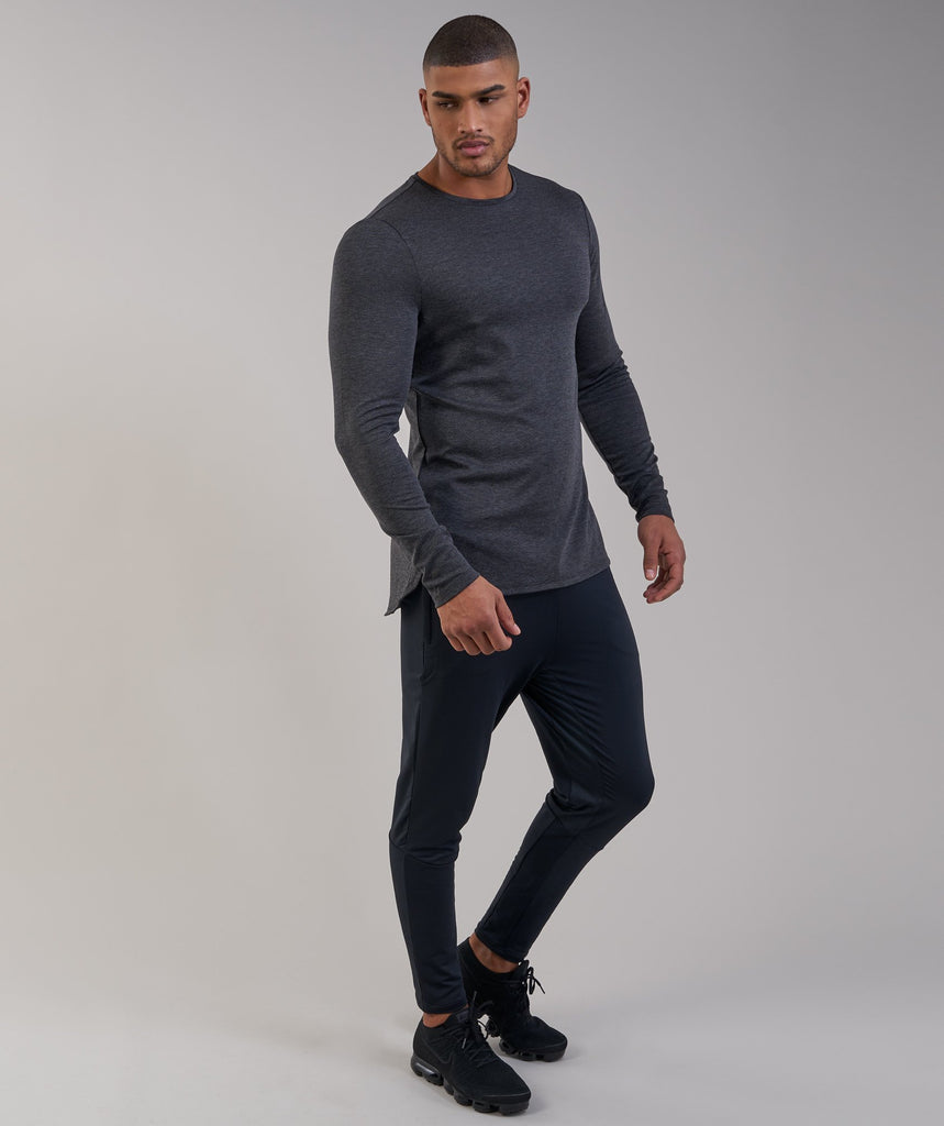 Gymshark Breathe Long Sleeve T-Shirt - Black Marl 1