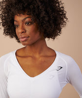 Gymshark Elan Long Sleeve T-Shirt - White 12