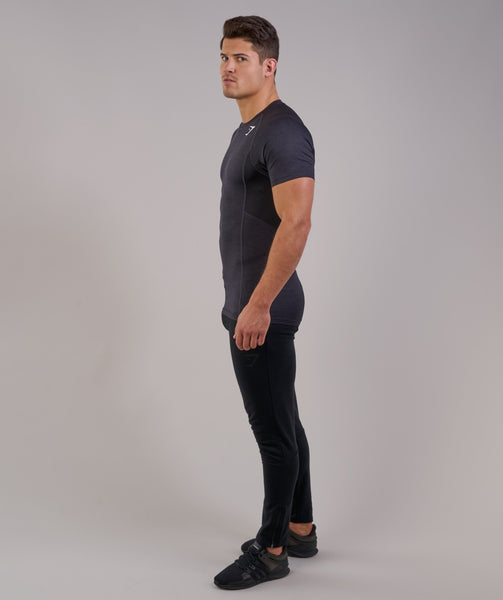 Gymshark Element Baselayer Short Sleeve Top - Black Marl 3