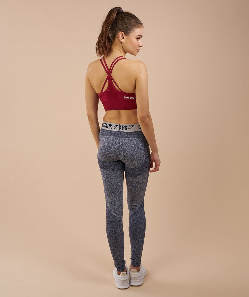 Gymshark Flex Leggings - Sapphire Blue Marl/Light Grey 2