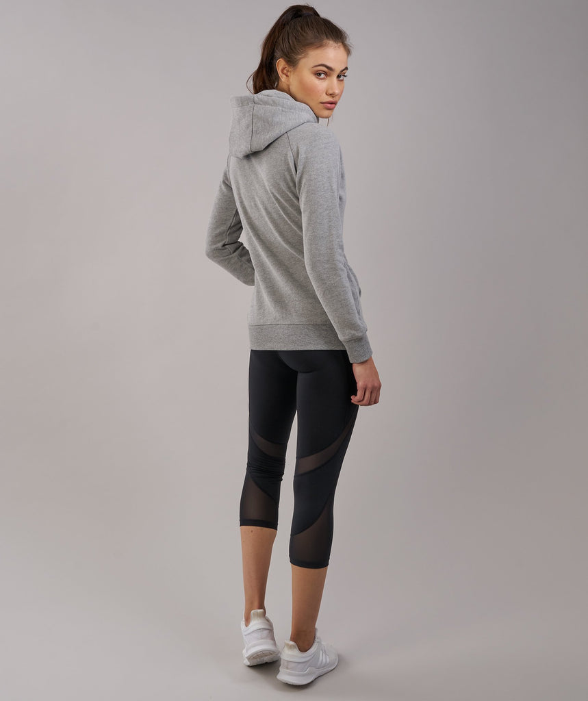 Gymshark Women's Crest Hoodie - Light Grey Marl 2